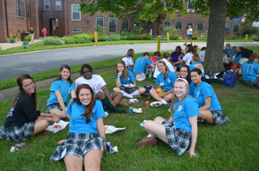 The seniors enjoy a picnic outside before their Farewell Assembly.
